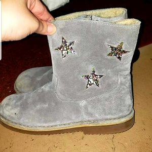 Ladies grey and rainbow glitter star boots
